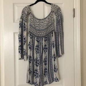 White/ blue floral off the shoulder ruched dress